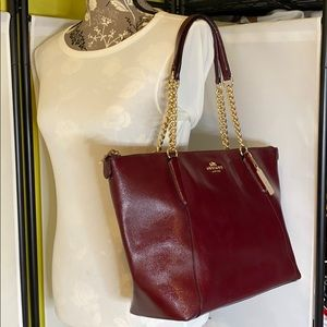 Coach Burgundy Dark Red Pebbled Leather Tote Bag